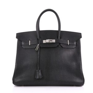 Hermès Leather Satchel in black