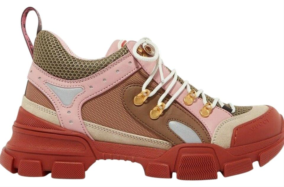 1e18dc2e Gucci Pink Flashtrek Journey Beige Brown Low Top Hiker Boot Trainer  Sneakers Size EU 41 (Approx. US 11) Regular (M, B)