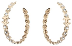 Chanel Brand new Chanel crystal cc hoop earrings