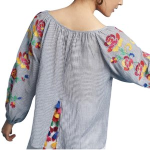 Anthropologie Floreat Embroidered Tassels Semi Crop Top Multicolored