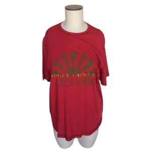 People's Liberation Sleeve Crew Neck Hi-lo Inside Out T Shirt Red