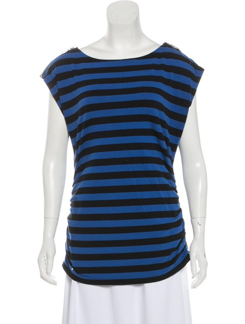 Item - Black Blue Thick Striped Ruched Cap Sleeve Blouse Size 12 (L)