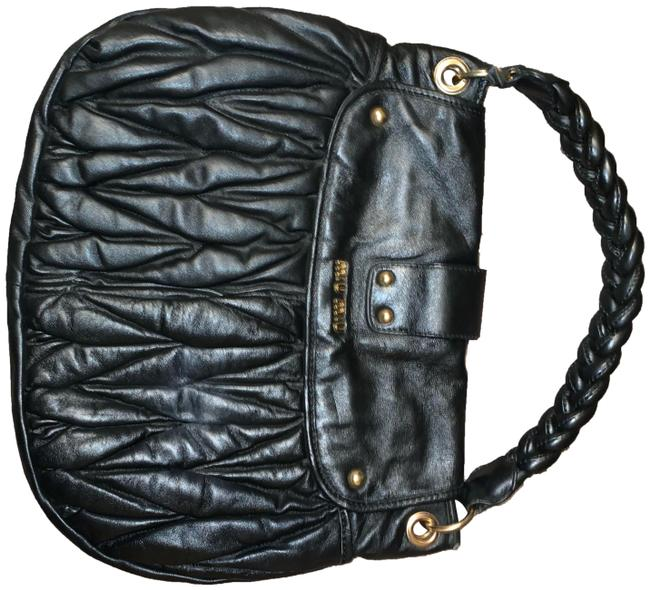 Item - Black and Gold Leather Hobo Bag