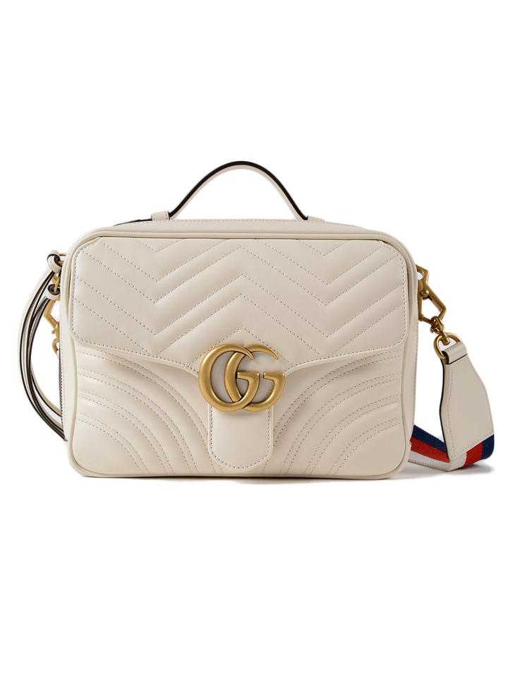 44c237c867a Gucci Marmont Small Gg 2.0 Matelassé Camera with Webbed Strap White ...