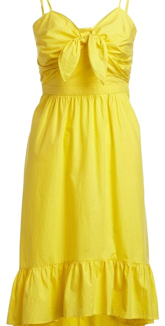 Item - Yellow Clorinda Ruffle-hem High-low Cotton Sun Long Cocktail Dress Size 4 (S)