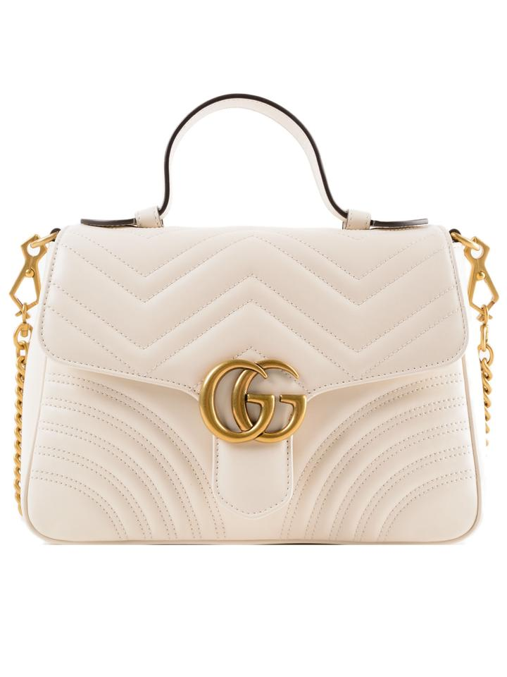 9e5e07820e3c Gucci Marmont Gg 2.0 Matelassé Top Handle White Leather Shoulder Bag ...