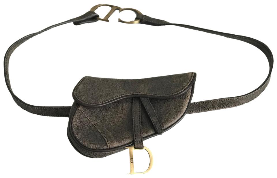 64410acc4a0 Dior Belt Christian Saddle Waist Fanny Pack Brown Leather Cross Body Bag