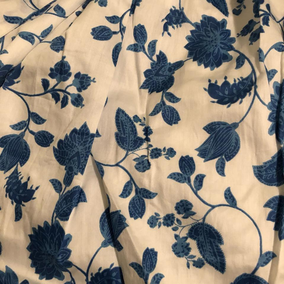 Blue And White Olivia Floral Wallpaper Print Fit Flare Short