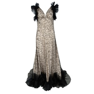 Alexander McQueen Black And Flesh Lace Ruffle Trim Sleeveless Gown M Casual Wedding Dress Size 10 (M)