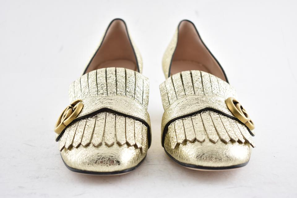 92a958ffb2ed Gucci Gold Marmont Platino Gg Logo Fringe Block Mid Heel Mule Loafer Pumps  Size EU 37 (Approx. US 7) Regular (M