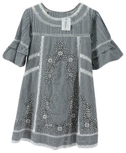 Free People short dress Black White Gingham Checked Embroidered Floral Tunic on Tradesy