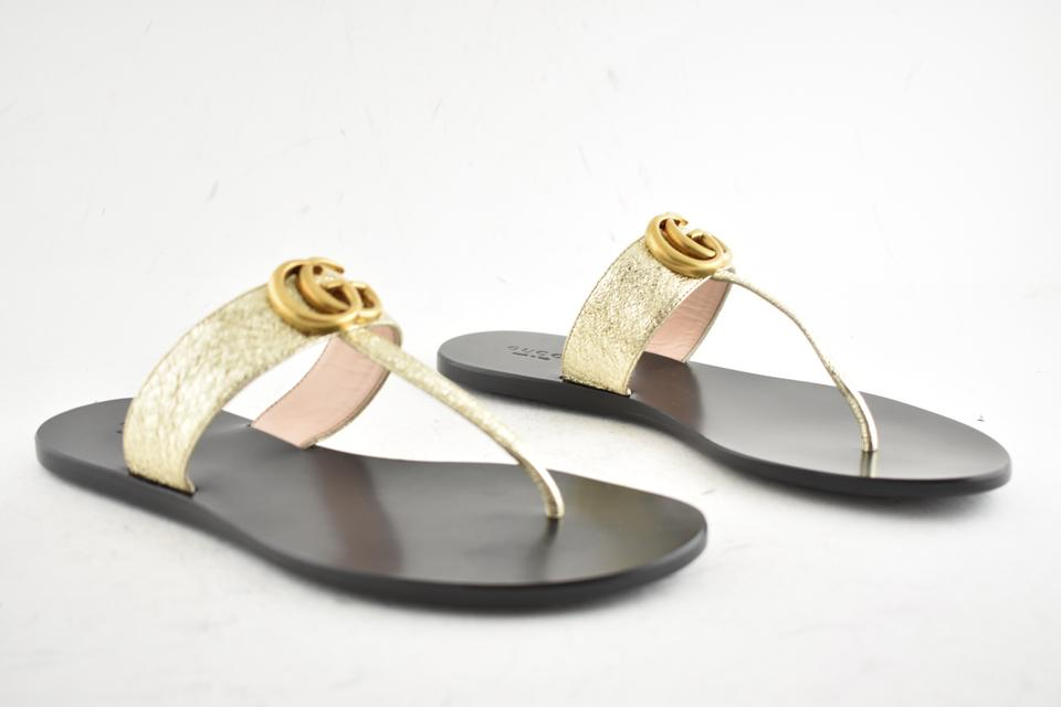 4f497eef6 Gucci Gold Marmont Platino Gg Logo Black Mule Thong Flat Flip Flop Sandals  Size EU 40.5 (Approx. US 10.5) Regular (M