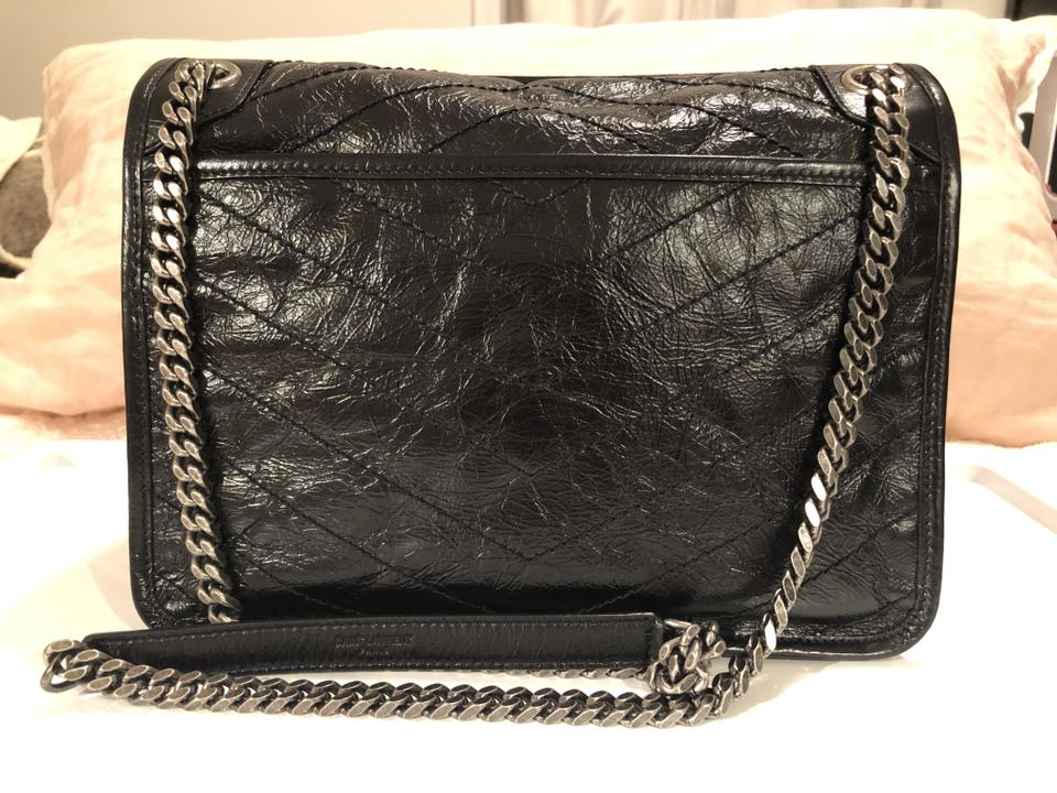 a0fa1f738a Saint Laurent Ysl Monogram Medium Niki Chain Crinkle Shoulder/Crossbody  Black Leather Shoulder Bag 10% off retail