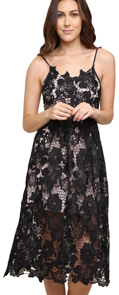 62df2593d Umgee Black S Sleeveless Floral Lace Midi Lined Little Lbd Short Casual  Dress