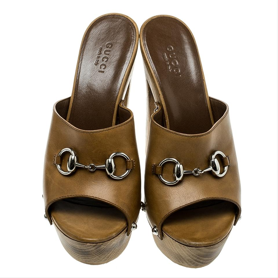 91542a32204c Gucci Brown Horsebit Leather Morena Mules Platforms Size EU 37.5 (Approx.  US 7.5) Regular (M