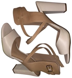 Gianni Bini white and tan Platforms