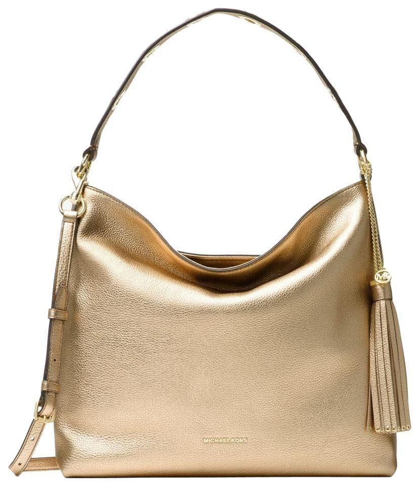ff45a9908 Michael Kors Shoulder Brooklyn Large Gold Leather Hobo Bag - Tradesy