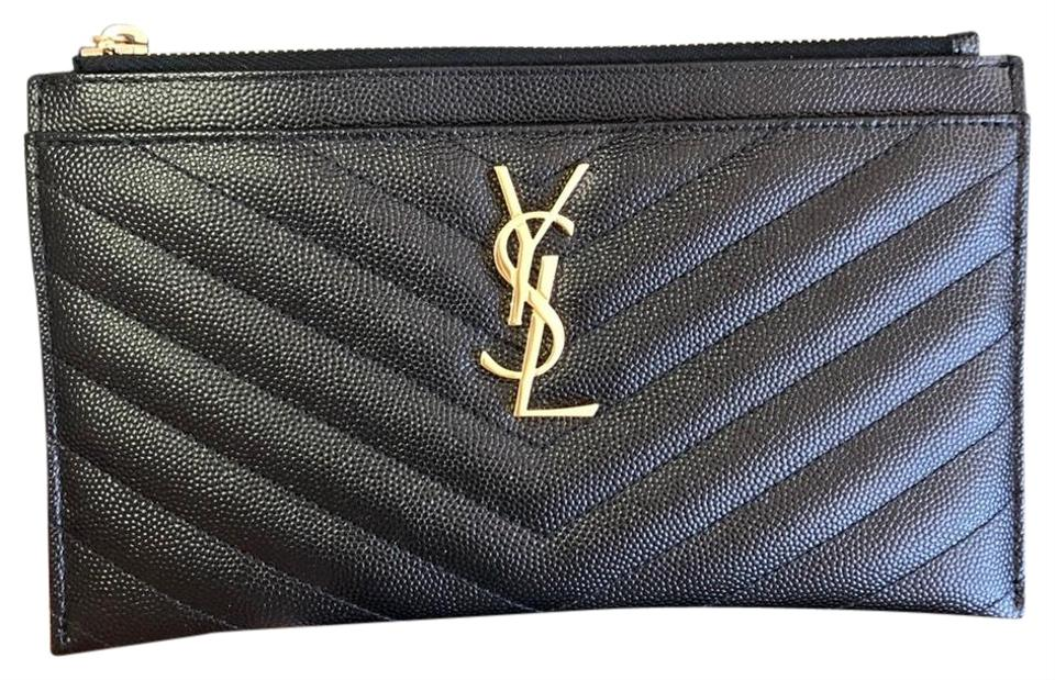 2d65dba93b3 Saint Laurent Ysl Logo Pouch Wallet Black Leather Clutch - Tradesy
