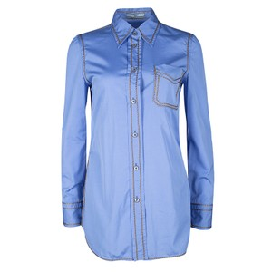 Prada Blue Cotton Contrast Embroidered Long Sleeve Button Front Shirt S