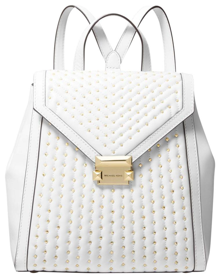 17af72c3a49b12 Michael Kors Whitney Medium Studded 31s9gwhb2t Optic White Leather ...