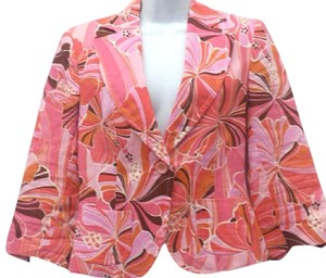 ZARA Print Ramie PINK/ORANGE/BROWN Blazer