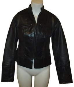 Arden B. Short Pleated 004 Onm black Leather Jacket
