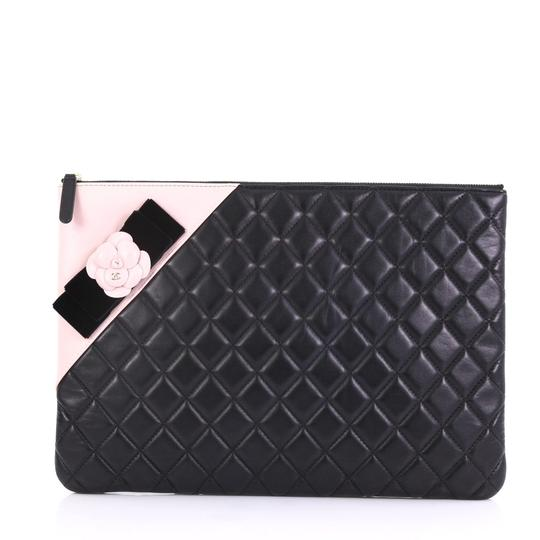 46808452cb83 Chanel Clutch Camellia O Case Quilted Large Black Lambskin Leather Clutch