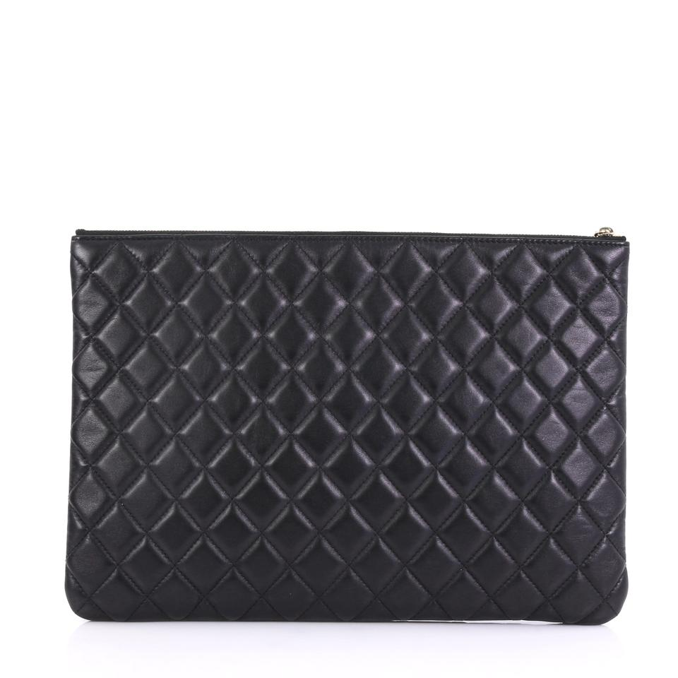7cbab933095a Chanel Clutch Camellia O Case Quilted Large Black Lambskin Leather ...
