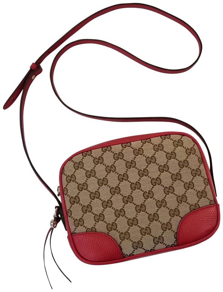 efca3bbbf673 Gucci Bree Disco Supreme Canvas Red Leather Cross Body Bag - Tradesy