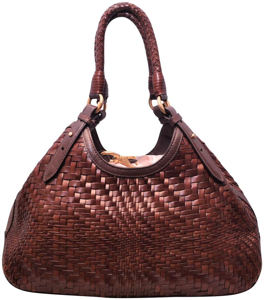 398517f0b0 Cole Haan Triangle Weave Woven Braided Tote in Chocolate Brown Image 0 ...