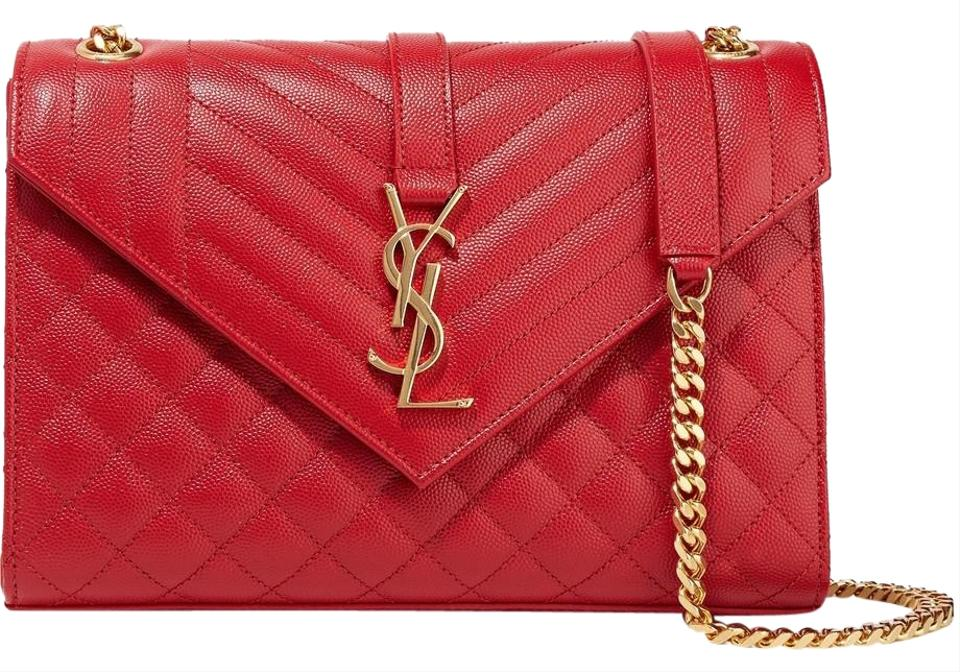9f2c4a11ca7 Saint Laurent Medium Quilted Envelope Red Textured Leather Shoulder ...