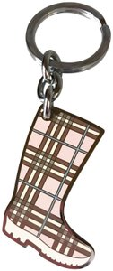 Burberry Brand New Baby pink and Silver Nova Check Rain Boot Keychain