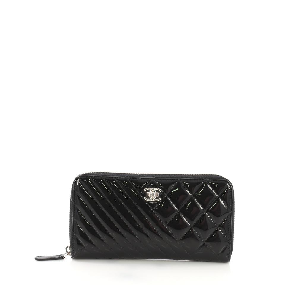d0d28f36c885 Chanel Black Boy Coco Zip Around Quilted Patent Long Wallet - Tradesy