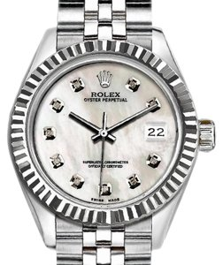 Rolex Rolex Ladies 26mm Datejust with Diamond White Mother Of Pearl Dial Wat