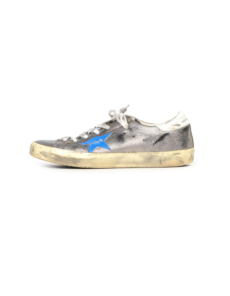 Golden Goose Deluxe Brand SilverBlue Leather Low top Superstar Sneakers Size EU 40 (Approx. US 10) Regular (M, B)