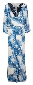 White Maxi Dress by Tory Burch Print Sequin Embellished Silk