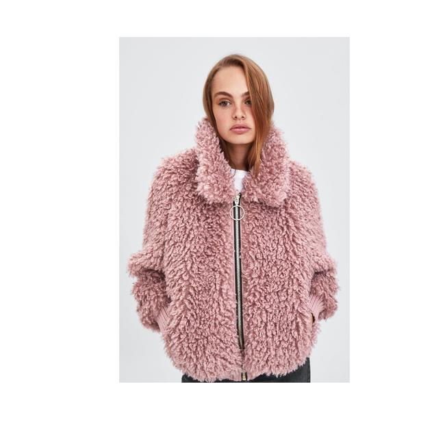 Item - Pink New Faux Shearling Bomber Coat Size 4 (S)