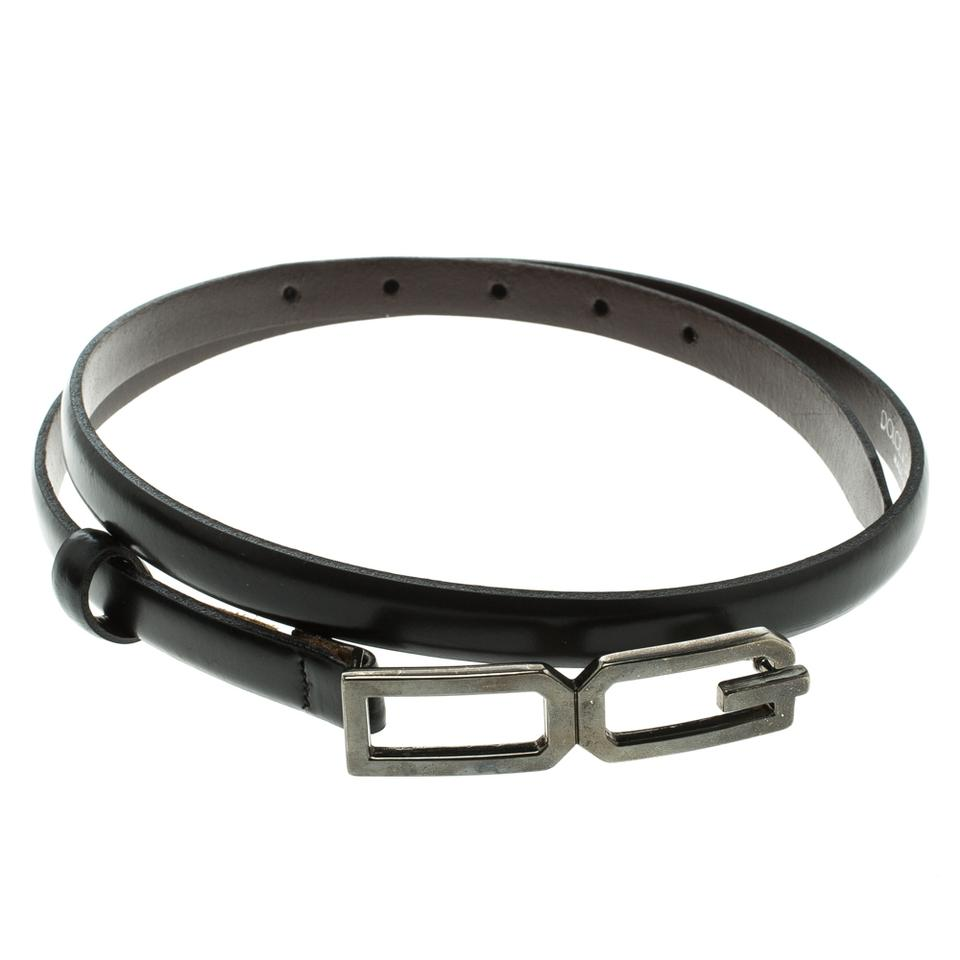 bc1bee5a Dolce&Gabbana Black Glossy Leather Skinny DG Logo Belt 85cm Image 0 ...