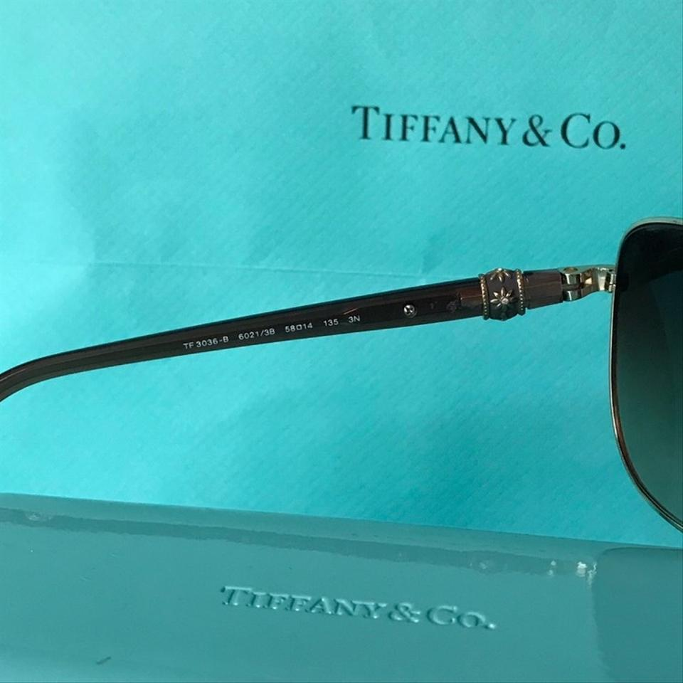 1e447ed3255 Tiffany   Co. Aviator Brown and Gold Frames W Flowers Tf3036 W  Case ...