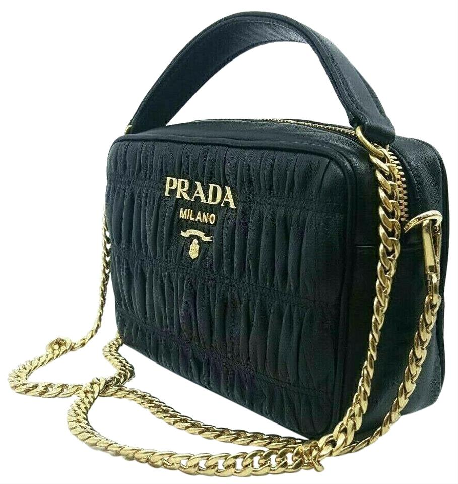 077b13b91f1e Prada Bandoliera Nero Nappa Gaufre'1 Quilted Handbag 1bh Black Leather Cross  Body Bag