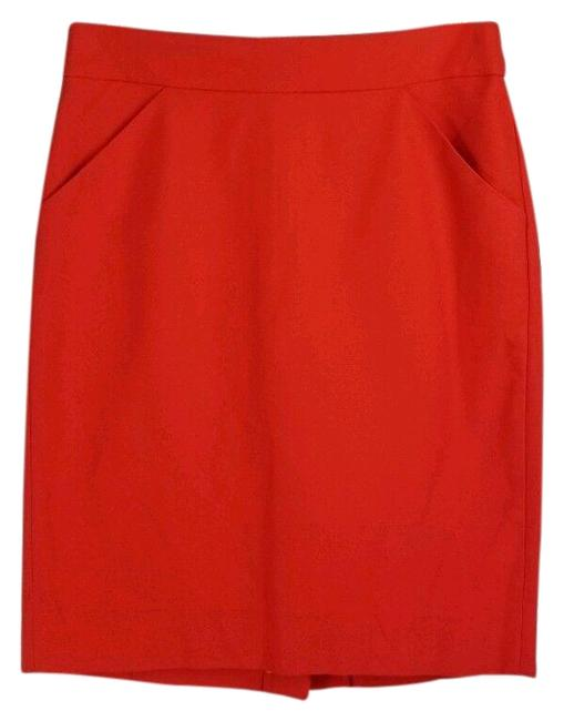 Item - Fiery Sunset (Red) Pencil In Double-serge Cotton Skirt Size 2 (XS, 26)