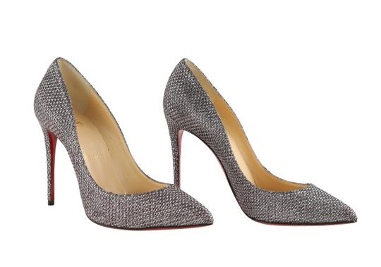 Christian Louboutin Lurex Heels Pointed Toe Wedding Silver Pumps Image 1