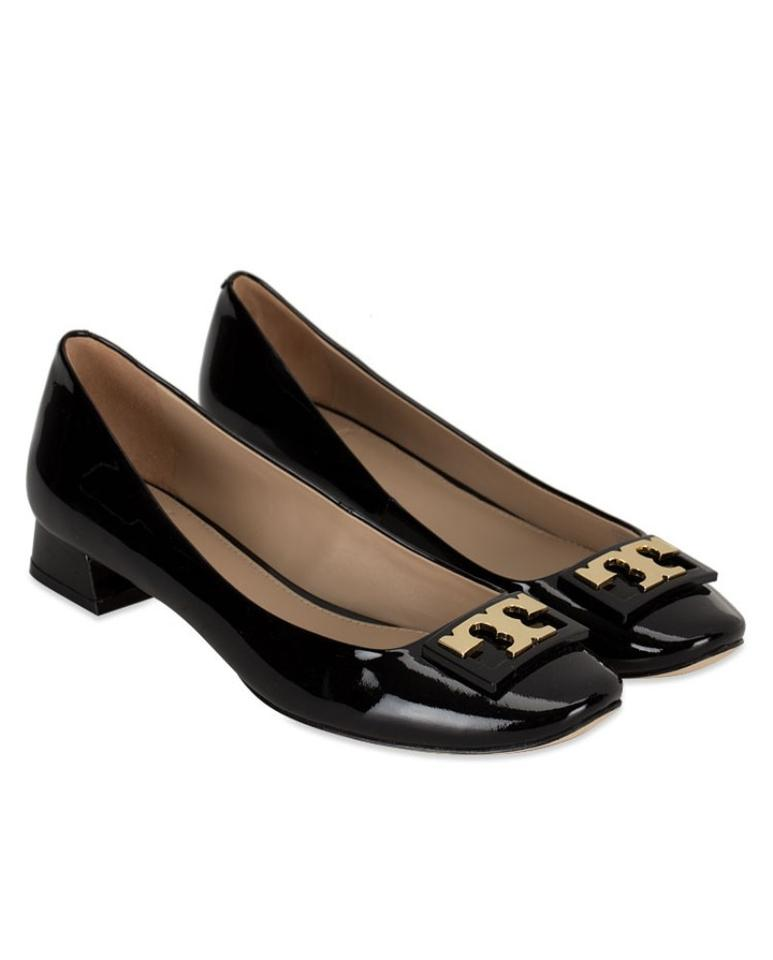 a6a55fdff3a5d8 Tory Burch Black Gigi T Patent Leather Gold Buckle Reva Low Pumps ...