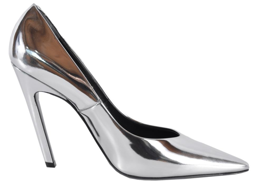 43da2e2b32ab Balenciaga Silver New 482584 Mirrored Leather Slash Pumps Size US 10 ...