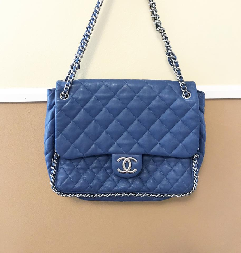 4e4a52b6a495 Chanel Classic Flap Maxi ( Jumbo ) Chain Around Quilted Blue ...