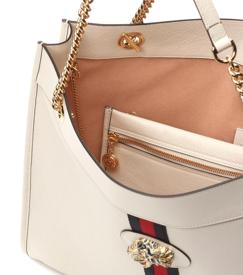 ca590bf9ba1a Gucci Rajah Large Rajah Leather Tote in White Image 4. 12345