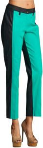 Larry Levine Baggy Style Cropped Ankle Belt Loops Colorblock Body Looks Thinner Trouser Pants Multi-Color