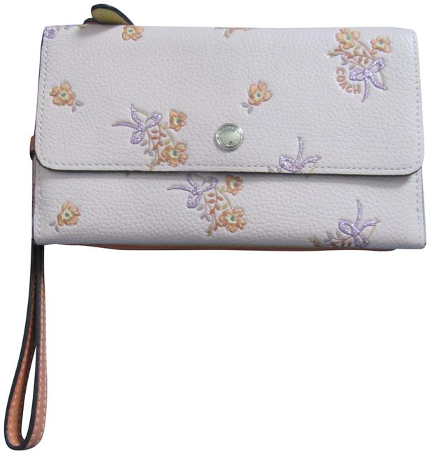 Item - 3in1 Pink with Flowers Orange and Yellow Coated Canvas Wristlet