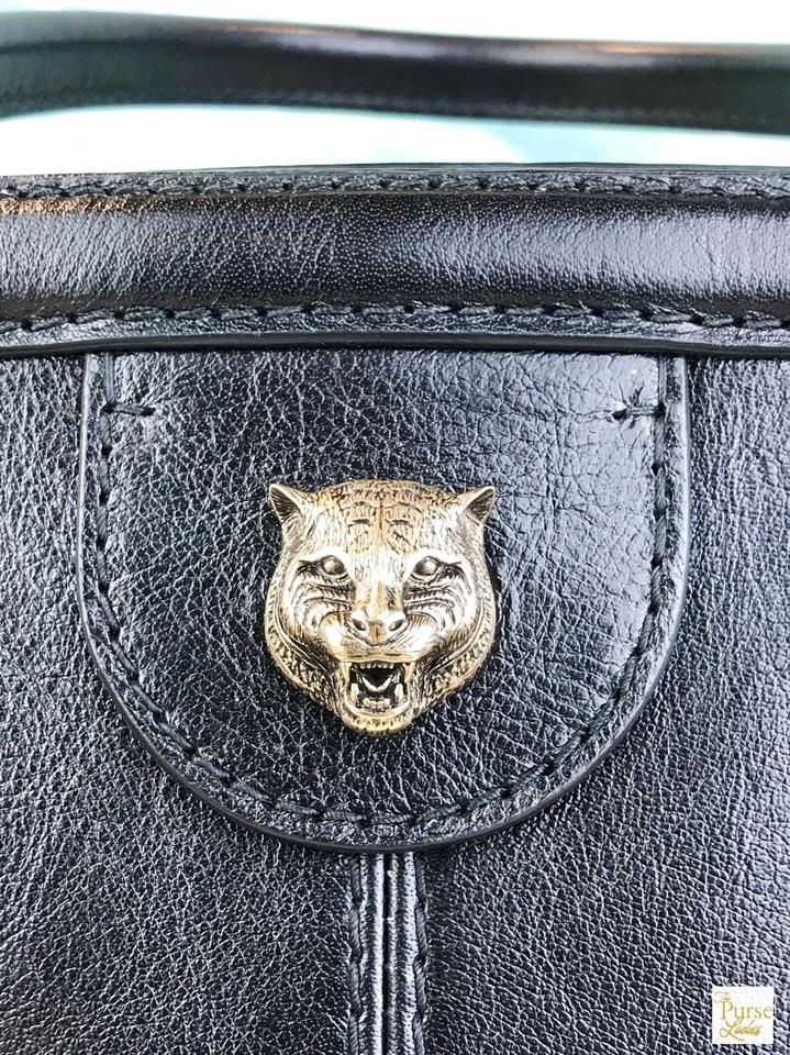 d7e38085b33 Gucci Marmont RE(BELLE) Tiger Rebelle Large Top Handle New Black Leather  Satchel - Tradesy