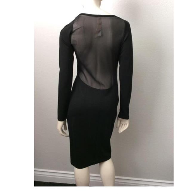 Item - Black Sheer Mid-length Night Out Dress Size 6 (S)